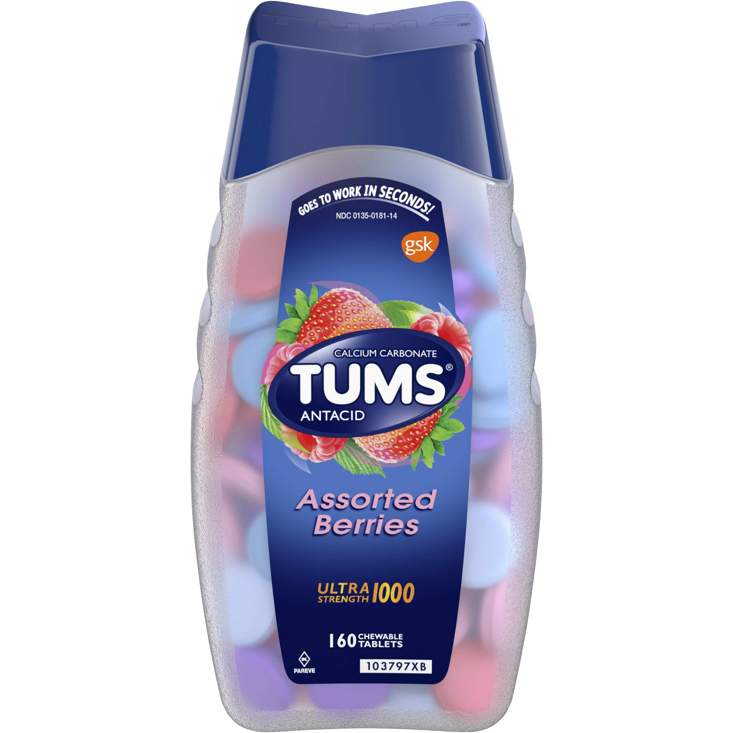 TUMS Antacid Chewable Tablets, Ultra Strength for Heartburn Relief, Assorted Berries, 160 count