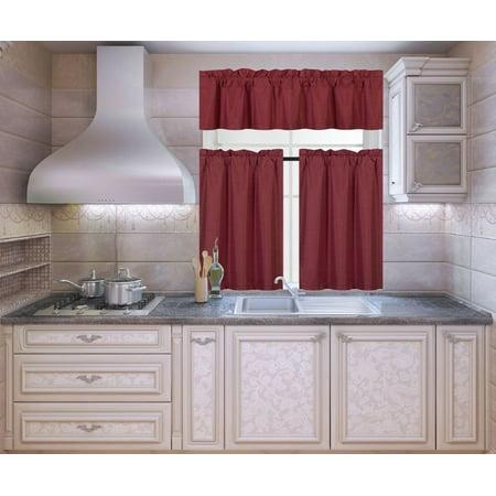 K3 Burgundy 3-Piece Blackout Rod Pocket Kitchen Window Curtain Set Darkening Tier Panels Treatment with Matching Valance