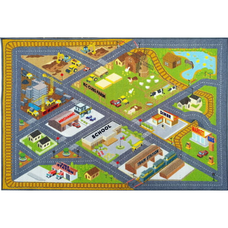 KC CUBS Playtime Collection Country Farm Road Map With Construction Site Educational Learning Area Rug Carpet For Kids and Children Bedroom and Playroom (8' 2