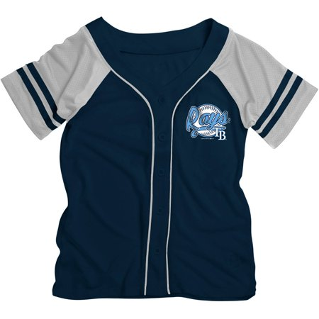 MLB Tampa Bay Rays Girls Short Sleeve Button Down Mesh Jersey