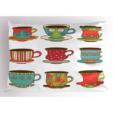 Tea Party Pillow Sham Colorful Vivid Teacup Design Cartoon Drawing Style Breakfast Brunch Illustration, Decorative Standard Queen Size Printed Pillowcase, 30 X 20 Inches, Multicolor, by Ambesonne