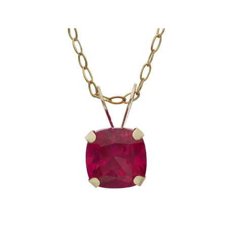 1 Carat T.G.W. Created Ruby 10kt Yellow Gold 6mm x 6mm Cushion-Cut Pendant,