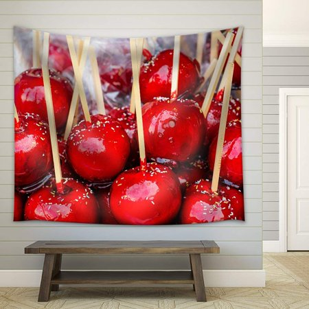 wall26 - Sweet Glazed Red Toffee Candy Apples on Sticks for Sale on Farmer Market or Country Fair. - Fabric Wall Tapestry Home Decor - 68x80