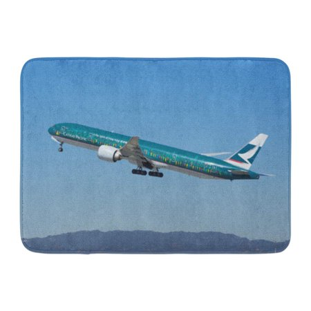 GODPOK Los Angeles Ca USA March 5 2018 'Spirit of Hong Kong' Cathay Pacific Jet Shown Departing from The Rug Doormat Bath Mat 23.6x15.7 inch