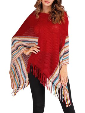 LELINTA Sweater Cape Long Knitted Pullover Tassel Shawl Loose Poncho Cape Sweater Knitwear for Women
