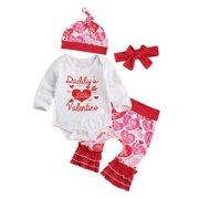 Sunisery Baby 4PCS Valentine's Day Long Sleeve Romper Pants Hat Headband Set