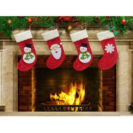 3Pcs Christmas Stocking Hanger Ornament Socks For Decoration Tree Gift