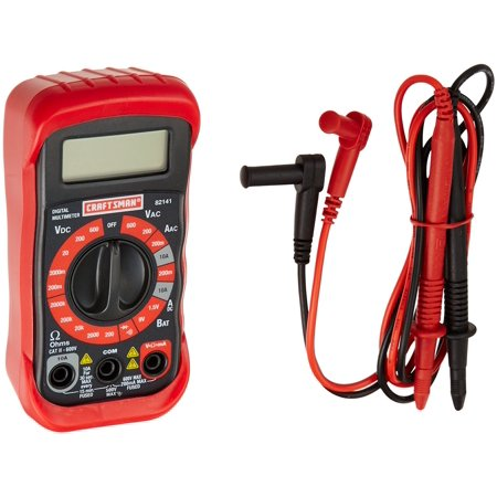 34-82141 Digital Multimeter with 8 Functions and 20 Ranges, Measures up to 600 volts alternating current and 10A alternating current for electrical.., By Craftsman