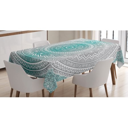 Grey and Teal Tablecloth, Mandala Ombre Design Sacred Space Geometric Center Point Boho Meditation Art, Rectangular Table Cover for Dining Room Kitchen, 60 X 84 Inches, Grey Teal, by - Teal Tablecloth