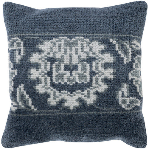 Hazel Navy and Sea Foam 22-Inch Pillow with Poly Fill