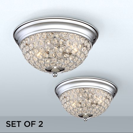 Possini Euro Design Faith Chrome Crystal Ceiling Lights Set Of 2