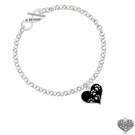 Black Enamel Heart with Paw Prints & Beyond Infinity Toggle Chain Bracelet