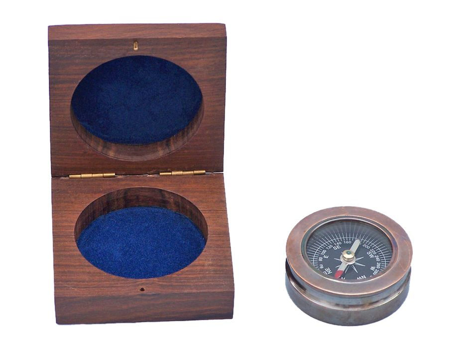 "Antique Copper Paperweight Compass 3""- Nautical Compass- Nautical Home Decor by Handcrafted Nautical Decor"