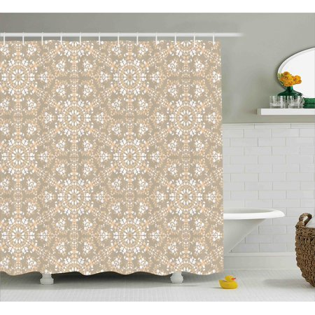 Mosaic Shower Curtain Antique Roman Time Inspired Rock Design With Circled Modern Lines Image Print Fabric Bathroom Set Hooks Tan Peach White