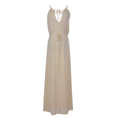 Anna-Kaci Womens Chiffon Cream Greek Goddess Inspired Long Maxi Beach Toga Dress