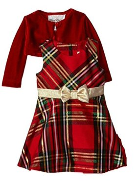314347294cf Product Image Rare Editions Girls 7-16 Plaid Bow and Velvet Jacket Holiday  Dress 14