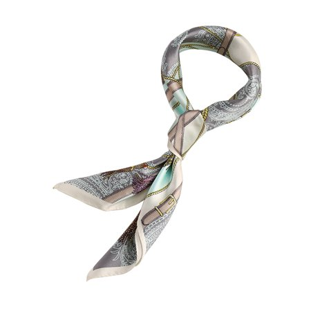 Women Fashionable Mint Fringe Print 100% Silk Square Scarf - image 4 of 4