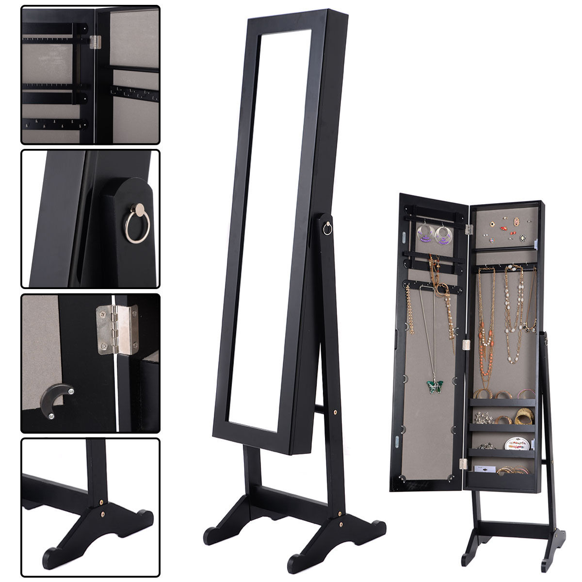Costway Mirrored Jewelry Cabinet Armoire Mirror Organizer Storage