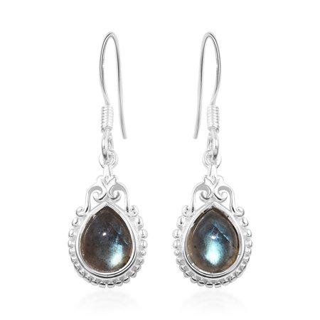 Dangle Drop Earrings 925 Sterling Silver Pear Labradorite