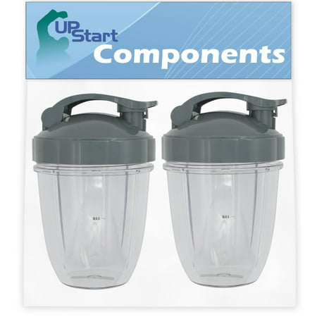 2 Pack UpStart Components Replacement 18 oz Cup with Flip Top To-go Lid for NutriBullet 600w, NutriBullet Pro 900w, NutriBullet Pro 900 Series Blenders