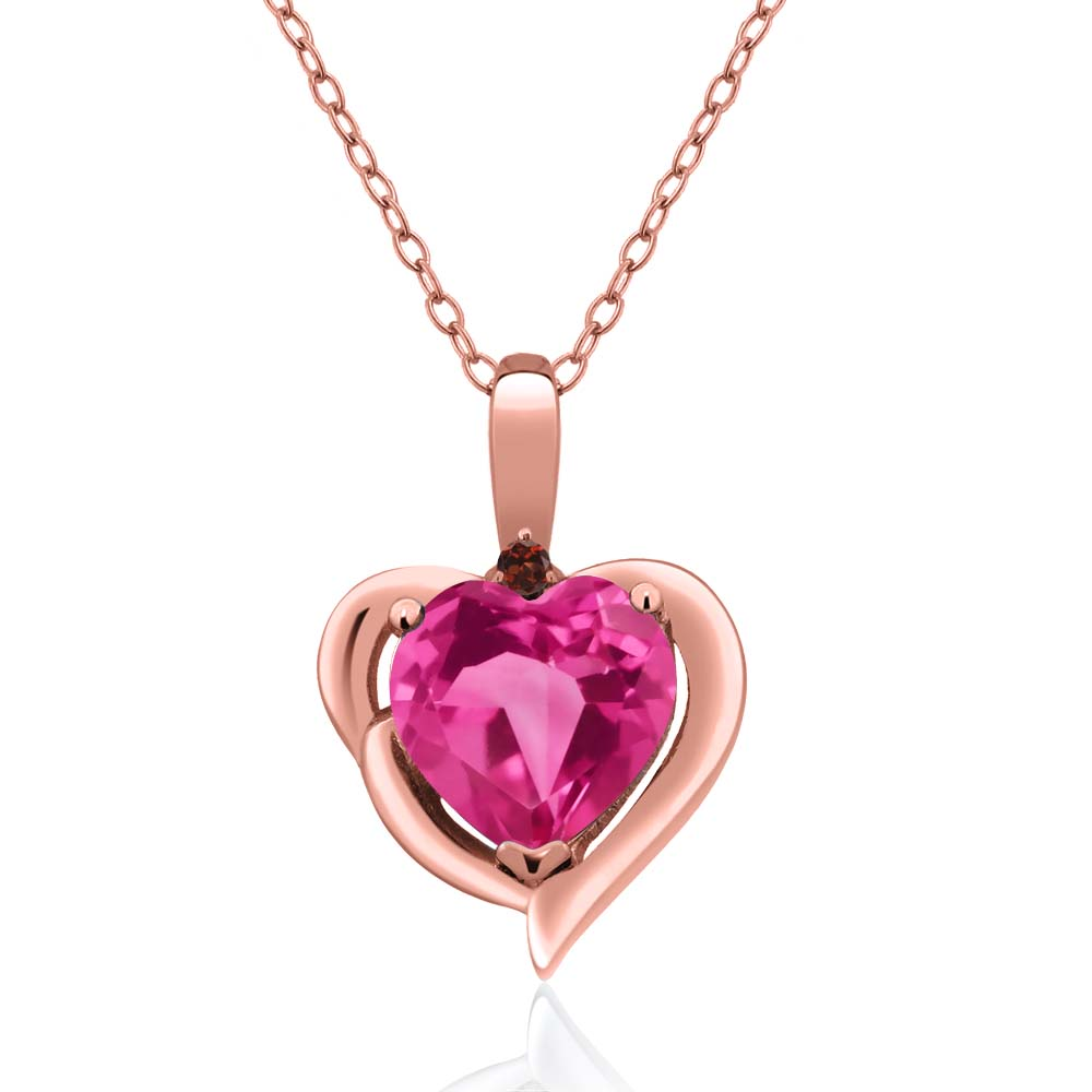 1.82 Ct Heart Shape Pink Created Sapphire Red Garnet 18K Rose Gold Pendant by
