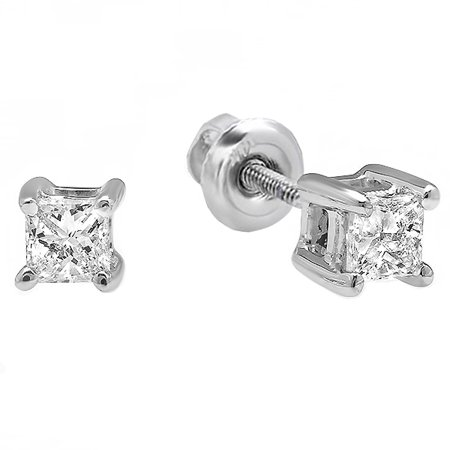 0.49 Ct Princess Shape - 10k White Gold Princess Diamond Square Shape Ladies Solitaire Stud Earrings 1/5 CT