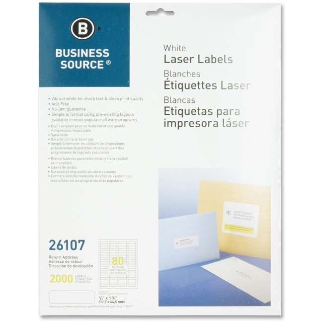 "Business Source Address Laser Labels - Permanent Adhesive - 0.50"" Width x 1.75"" Length - 80 / Sheet - Rectangle - Laser - White - 25 / Box"