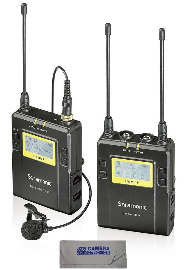 Saramonic RX9+TX9 Dual Channel UHF Wireless Lavalier Microphone System with Cleaning Cloth by