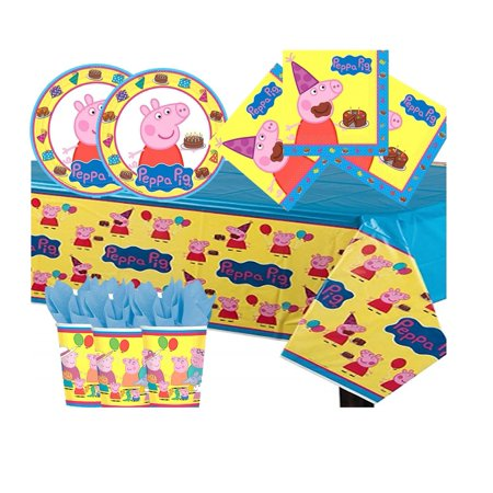 Peppa Pig Birthday Party Supply Pack for 16 Guests - Shipped Fedex Express - Peppa Pig Birthday Supplies
