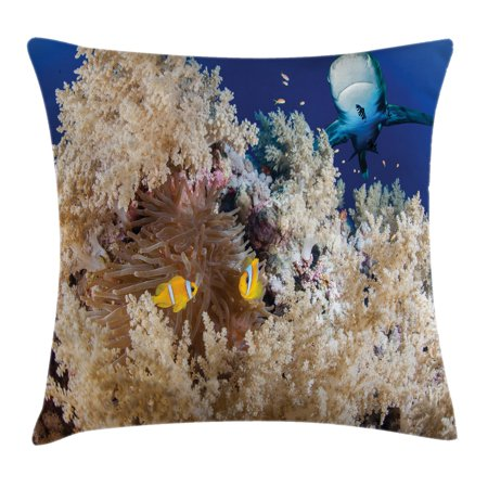 Sea Animal Decor Throw Pillow Cushion Cover, Reef with Little Clown Fish and Sharks East Egyptian Red Sea Life Scenery, Decorative Square Accent Pillow Case, 16 X 16 Inches, Blue Cream, by Ambesonne