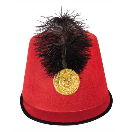 Soldier Red Mens Adult Military Feather Halloween Costume Hat