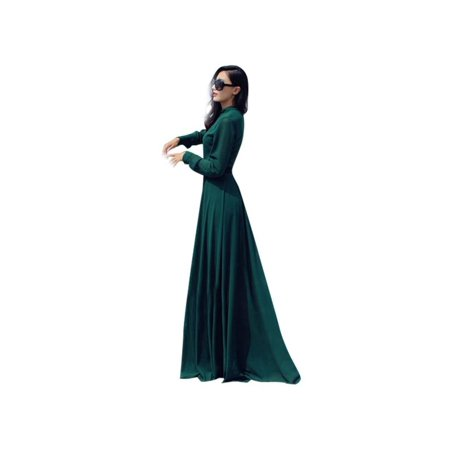 Lavaport Women Bridesmaid Islamic Muslim Cocktail Evening Party Long Sleeve Maxi Dress Bridesmaid Womens Long Sleeve