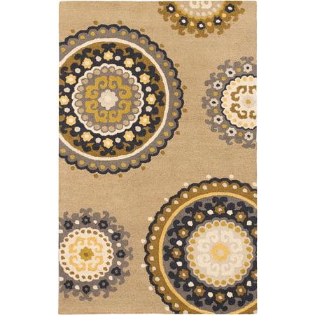 eCarpetGallery Handmade Mod Elegance Beige Wool Rug 5'0