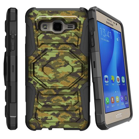 Samsung Galaxy On5 Case | Galaxy On5 Phone Case [ Armor Reloaded ] Extreme Rugged Cell Phone Cover with Kickstand and Belt Clip - Green Digital - Xtreme Mobile