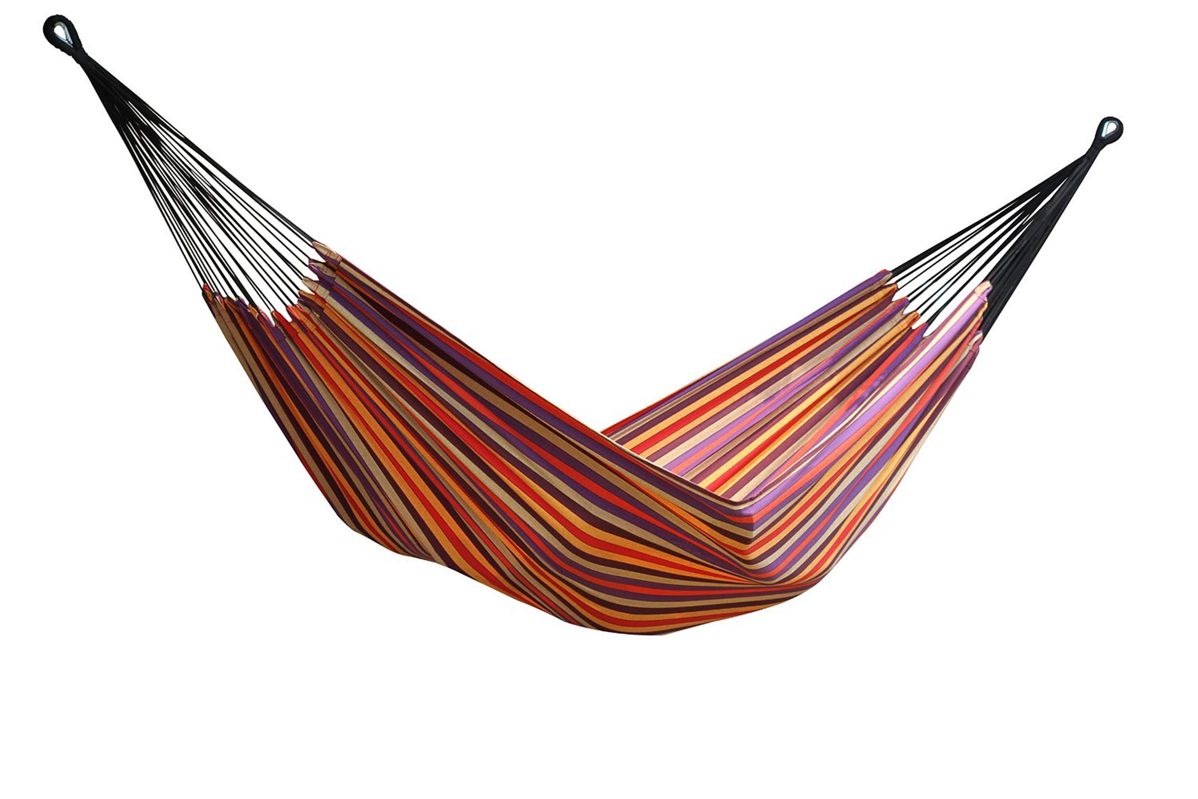 Vivere Brazilian Style Striped Double Hammock with Bag, Cotton Fabric BRAZ206