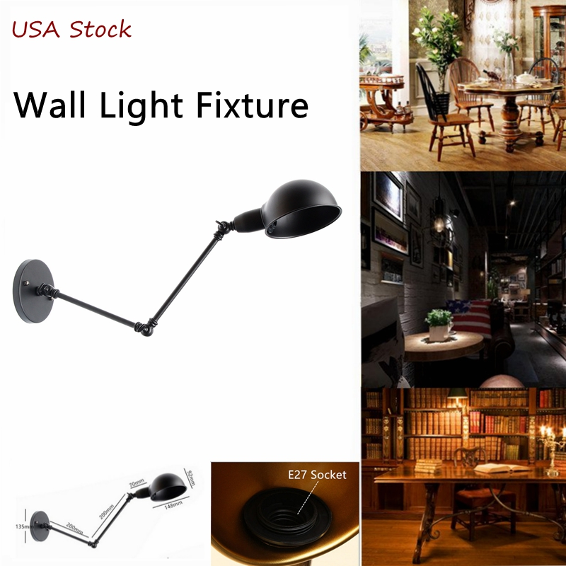 Vintage Industrial Adjustable Swing Arm Light Sconce Wall Lamp E27 Light Fixture by