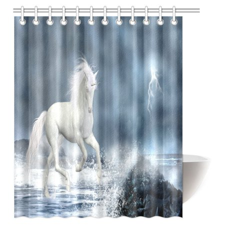 MYPOP Unicorn Shower Curtain White Running Under Thunderstorm Clouds With Lightning Dreamy Fabric Bathroom