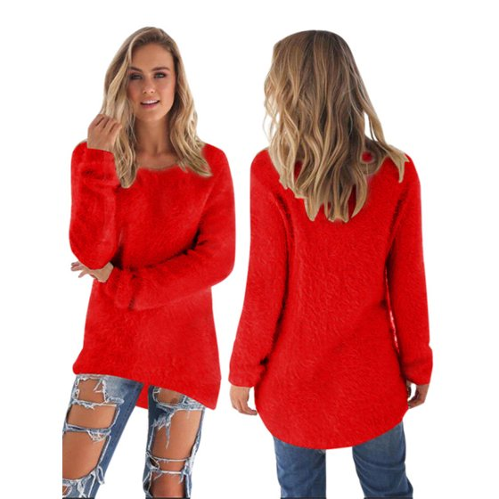 0bcdd1866c21f8 Women Velvet Fluffy Sweater Jumper Sweatshirt Long Sleeve Pullover Tops  Blouse - Walmart.com