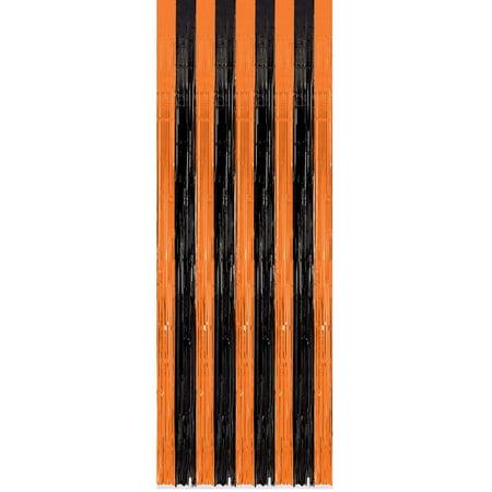 Orange and Black Fringe Door Curtain, 3ft x 8ft