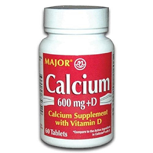 2 Pack Major Calcium with Vitamin D3 Tablets 600mg 60 Count Each