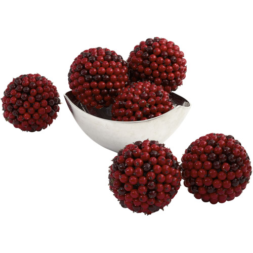 "Nearly Natural 5"" Red Berry Ball, 6pk"