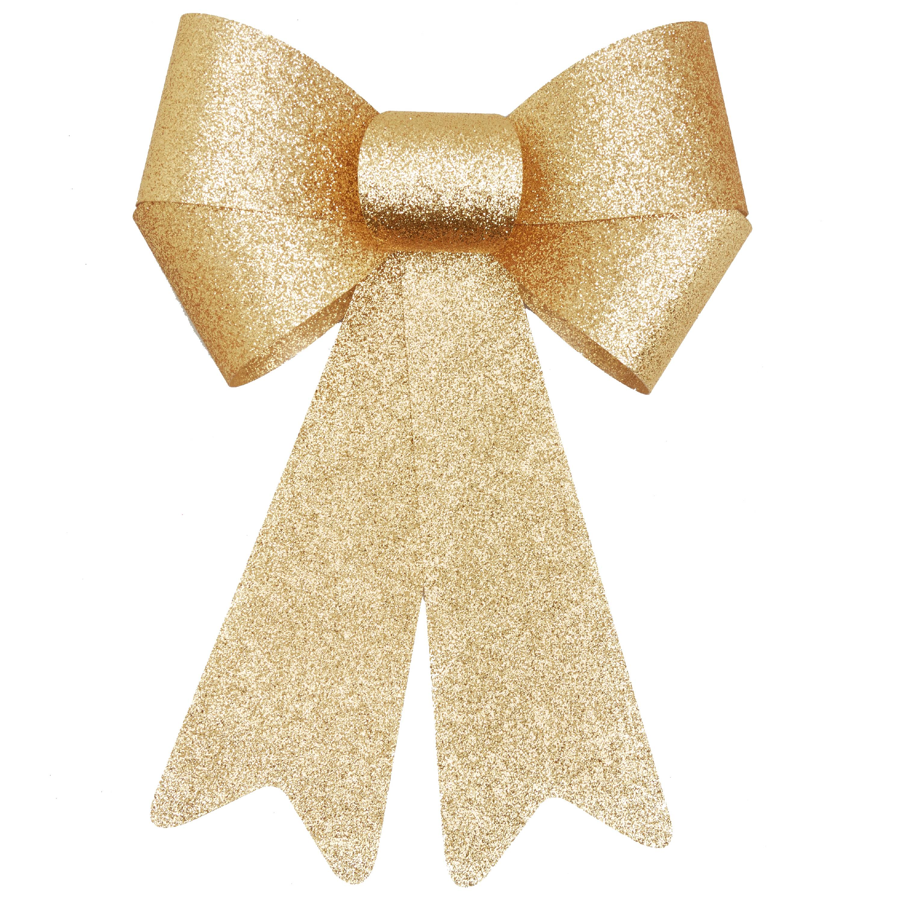 Holiday Time Gold Glitter Rigid Bow