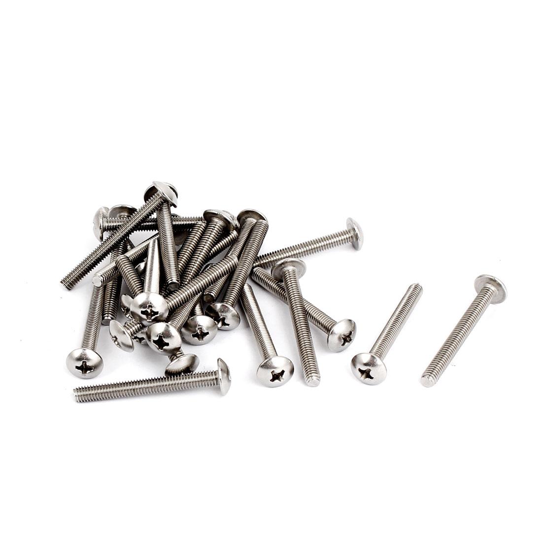 M4x35mm Stainless Steel Truss Phillips Head Machine Screws 25pcs