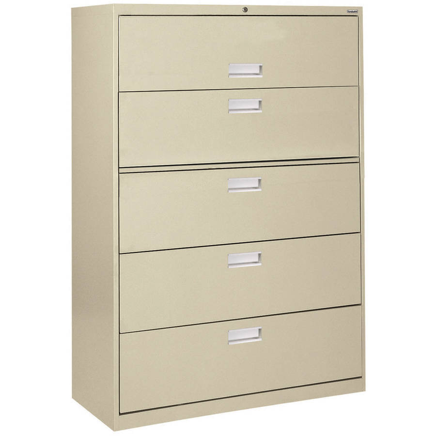 "Sandusky Lee 600 Series 42"" 5-Drawer Lateral File, Putty"