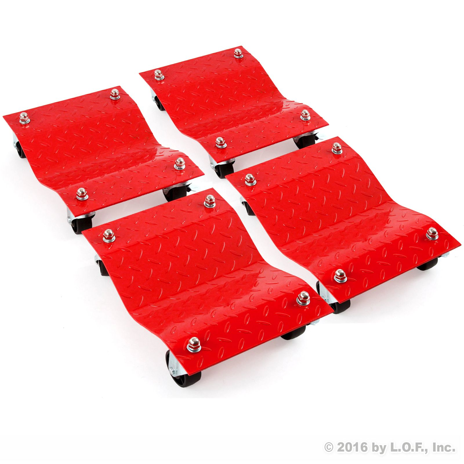 "4 - Red 12"" Tire Premium Skates Wheel Car Dolly Ball Bearings Skate Makes Moving A Car Easy Furniture Movers"