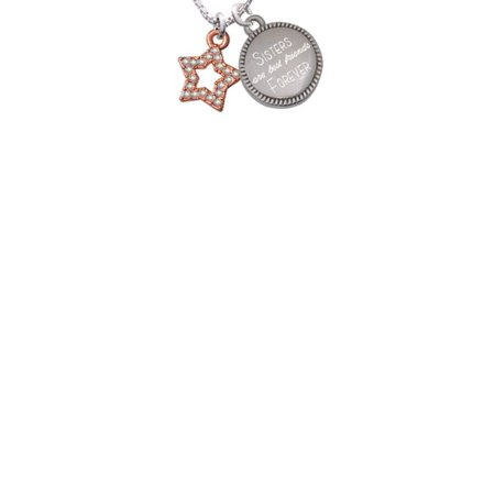 Rose Goldtone Open Star with Clear AB Crystals Sisters Are Best Friends Forever Engraved - Best Friends Forever Necklaces