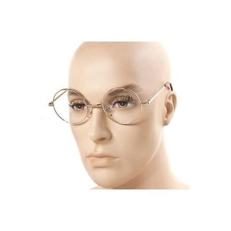 Medium Oversized Big Round Metal Frame Clear Lens Round Circle Eye Glasses NEW (Big Glasses Frames)