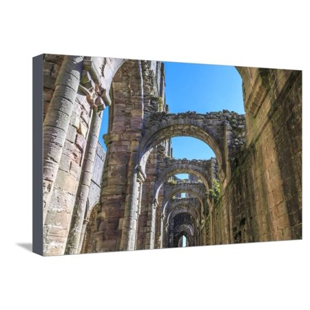 England, North Yorkshire, Ripon. Fountains Abbey ruins. Stretched Canvas Print Wall Art By Emily Wilson - Halloween Fountains Abbey