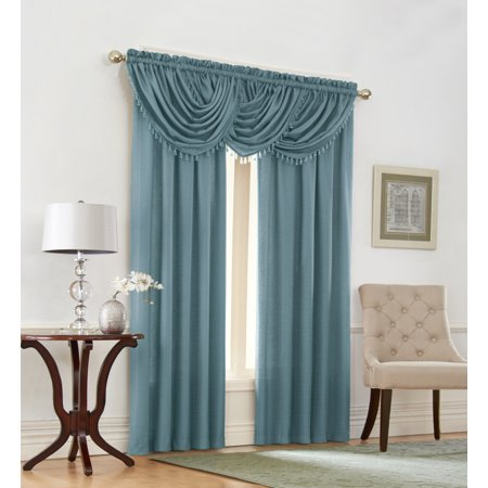 Emerald Crepe Heavy Textured 5 Piece Complete Window Curtain Set By GoodGram® - Pacific Blue (Pacific Window)