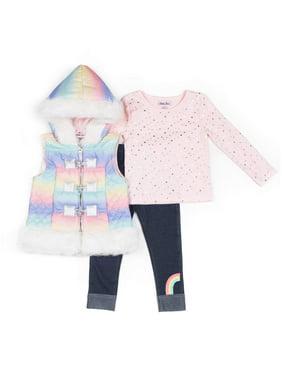 Little Lass Rainbow Fur Trim Puffer Vest, Long Sleeve Top & Denim Leggings, 3pc Outfit Set (Baby Girls & Toddler Girls)
